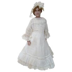 Lovely 20 In. English Poured Wax Portrait Lady Doll on Original Stamped Cloth Body with Wax Lower Arms and Legs