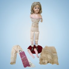 20 In. FIXER UPPER Wax Over Doll with Original Set Wig, Swivel Neck, Glass Eyes, Cloth Body with Wax Over Arms, Legs