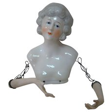 4.25 In. Lovely China Half Doll with Wire Attached Graceful Arms, Square Base, Made in Germany