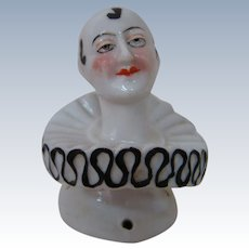 2 In. Half Doll Pierrot in Black and White with Extraordinary Facial Painting and Detail
