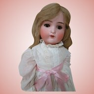 22 In. German Bisque Head Child Doll by Bruno Schmidt, Fully Jointed Composition Body, Antique Clothes
