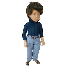 16 Inch 1975-86 Brunette Gregor Sasha Doll, All Vinyl, Wearing Denims / Sweater, No Hair Loss, Never Played With, Wearing Sm. Silver Wrist Tag