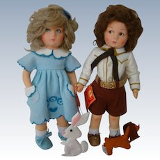 13 In. Pair of Lenci Felt Dolls from Italy with Their Felt Pets