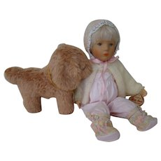 """14 In. Original Kathe Kruse """" Stoffpuppe """" Baby Original with Tag, and the Kathe Kruse Modell """" Hanne Kruse """" Pup with Tag, Both Made in Germany"""