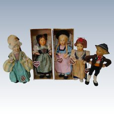 Lot of 5 Original Baitz Dolls from Austria, 1950's, Two in Original Boxes, All with Hang Tags