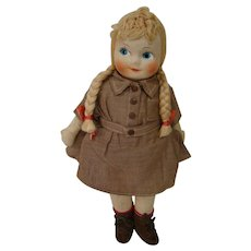 14 In. Hard Stuffed Cloth Brownie Doll, Original Clothes. Yarn Hair,  Swivel Neck, Painted Features