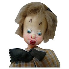 Surprised Artist Character Doll by Klumpe, Made in Spain, ca. 1952-75.  Original Hang Tag