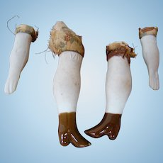 Set of Matching Bisque Arms and Legs for a China, Paper Mache or Parian-Type Doll, Molded Brown Glazed Boots