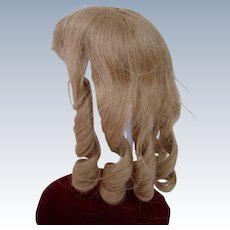 Pretty and Clean French Cheveux Human Hair Wig in Long Wringlets; Center Part and Bangs; 12 Inch Head Circumference
