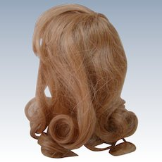 Beautiful Strawberry Blond Human Hair Wig with Bangs and Curls for Your Antique Doll