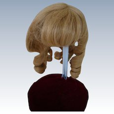 Small Size Long Curl French Human Hair Wig in Pale Blond