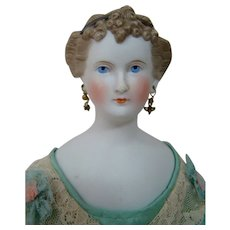 17 Inch Antique German Untinted Bisque or Parian Type Doll Called Countess Dagmar with Cluster of Curls at Forehead