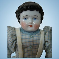 """14 Inch Antique 1880's to 1890's """"Highland Mary"""" China Shoulder Head, Original China Arms and Legs"""