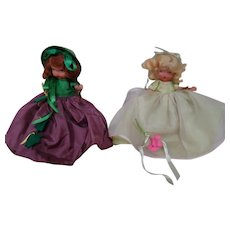 2 Bisque 5-1/2 In. NASB Dolls, All Original with Wrist Tags, Jointed Arms, Stiff Legs, Ca:  1943-47