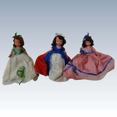 Three Bisque NASB Dolls of the Month with Wrist Tags, Excellent Original Condition