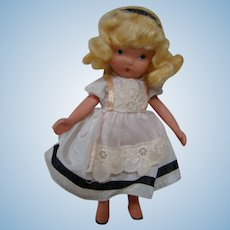 Adorable 5 In. Bisque NASB Doll with Jointed Legs, All Original, Crisp Clothing and Original Set Blond Wig