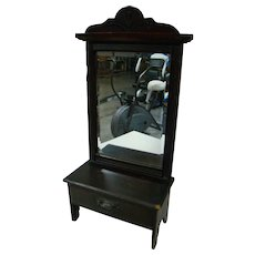 Antique Dressing Table with Framed Mirror for French Fashion or Other Doll Approximately 20-22 Inches Tall
