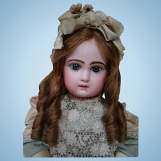 26 In. Blue Eyed Closed Mouth Tete Jumeau 12, Fully Marked Head and Body