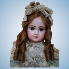26 In. French Bisque Blue Eyed Closed Mouth Tete Jumeau 12, Fully Marked Head and Body