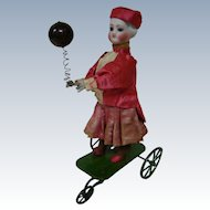 Vichy Automaton French Lady on Green 3-Wheel Cart, RARE Molded Hair, Open Pate, Glass Eyes, Original Clothing
