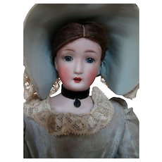 "17 In. Original Antique Dust Cover Using Simon & Halbig "" Little Women "" Doll,  Mold #1160 Ca:  1900"