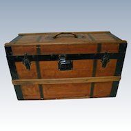 """Perfect Size 23"""" x 12.5"""" x 9"""" Antique Wooden Trunk for French Fashion and Her Extensive Wardrobe and Accessories"""