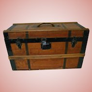 "Perfect Size 23"" x 12.5"" x 9"" Antique Wooden Trunk for French Fashion and Her Extensive Wardrobe and Accessories"