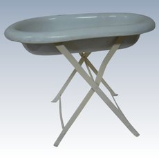 Bathing Tub for Antique or Vintage Baby Dolls, Folding Stand