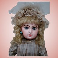 22-1/2 In. Sz 10 French Bisque Blue Eyed Tete Jumeau, Fully Marked Head and Body