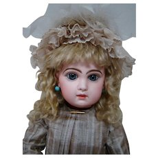 22-1/2 In. Sz 10 Blue Eyed Tete Jumeau, Fully Marked Head and Body