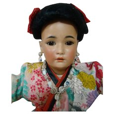17.5 In. German Made Oriental Doll, Mold #1329 by Simon Halbig, Lovely Silk Kimona and Wig