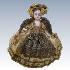 Magnificently Originally Dressed 5 Inch All Bisque Doll, Glass Eyes, Long Mohair Braids, Royalty ?