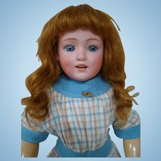Auburn Red Head, Blue Sleep Eyes 19 Inch Dolly Dimple Character by Gebruder Heubach