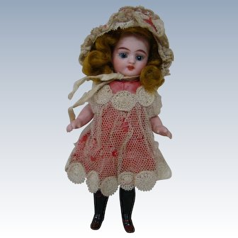 6 In. Simon Halbig French-Market All Bisque Mignonnette with Over-the-Knee Black Stockings, Sleep Eyes, Adorable