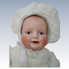Beautiful 22 Inch Character Bisque Head Bonnie Babe - the Lovable Baby with the Sideways Grin, Two Lower Teeth