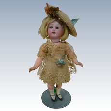7-1/2 In. Bisque Head German Doll on Quality Five-Pc. Jointed Composition Body, All Original