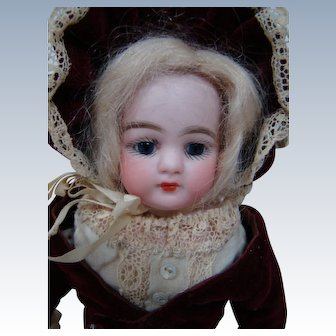 Hard to Find Closed Mouth Bisque Shoulder Head Doll on Cloth Body by Simon & Halbig, Germany