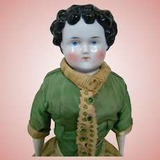 15 In. Dolly Madison Style China Shoulder Head Doll, Nicely Layered Old Clothing, Original China Limbs