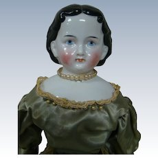 "18"" Wonderful Antique China Shoulder Head Called the Greiner-style, Germany, Cir: 1850's."