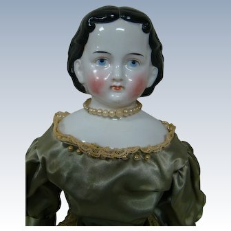 """18"""" Wonderful Antique China Shoulder Head Called the Greiner-style, Germany, Cir: 1850's."""