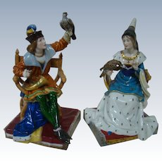 Rare, Superb and Authentic Half Doll Related Porcelain Medieval Figures by Dressel & Kister