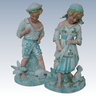 Rare Matching Pair of Huge 15 Inch Heubach Figurines with Sunburst Mark