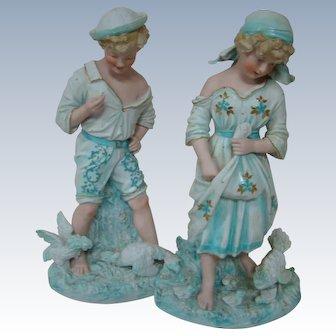 Rare Matching Pair of Huge 15 Inch Heubach Figurines with Sunburst Mark
