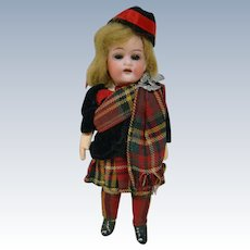 5-1/2 In. German Bisque Head Scottish Doll on Original Composition 5-Pc. Body, Glass Eyes, Mohair Wig
