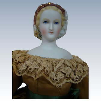 """17 In. """" Empress Eugenie """" Parian Type Doll with Pink Lustre Hat and Green Snood,  Beautifully Dressed, 1860's - 1870's"""