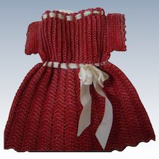 Pretty Crochet Red Dress with White Silk Ribbon for 9-1/2 to 10 Inch Doll