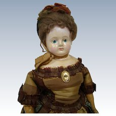 17-1/2 In. Paper Mache Fashion Lady in Lovely Antique or Vintage Silk Dress; Solid Dome with Orig. Wig, Old Cloth Body with Boots