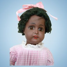 Early Black Bisque Head Kestner from Alphabet Series, Square Cut Teeth, Original Kinky Mohair Wig, Adorable!!