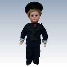Original K*R (Head by Simon Halbig) Bisque Head Boy Dressed in Wool Sailor Suit, Minty Doll