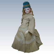 All Antique and Possibly Original French Fashion Poupee on Excellent Kid Body, Original Wig and Awesome Blue Leather Side Button Boots